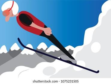 a ski jumper does a stunt on a ski resort