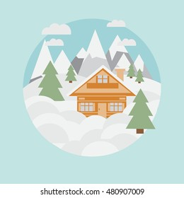 Ski landscape and chalet in mountains with snow and trees in flat style