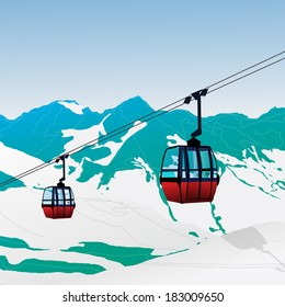 Ski Lift Gondola Snow Mountains Vector Illustration
