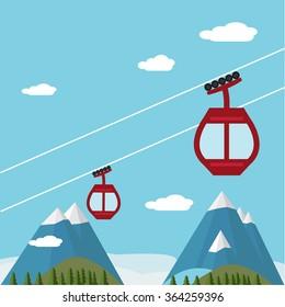 Ski Lift Gondola Snow Mountains, Forest -  Vector Illustration