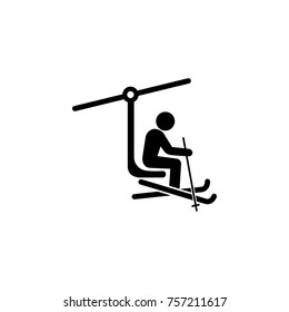 ski lift with man icon. Simple winter elements icon. Can be used as web element, playing design icon on white background