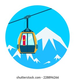 Ski lift on a background of the high mountains, in the upward movement. Vector illustration.