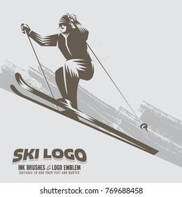 Ski Logo Isolated Vector Illustration. Winter Sport Template Or Emblem.