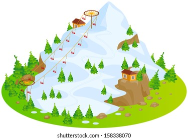 Ski Mountain. Fun cartoon map elements. Elements  are in the separate layers.