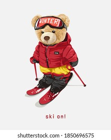 ski on with bear doll on ski costume illustration