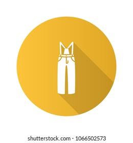 Ski pants flat design long shadow glyph icon. Winter overall. Bib-and-brace. Vector silhouette illustration
