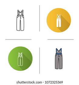 Ski pants icon. Winter overall. Bib-and-brace. Flat design, linear and color styles. Isolated vector illustrations