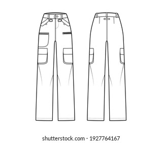 Ski pants technical fashion illustration with low waist, high rise, flap zipper patch pockets, belt loops, full lengths. Flat apparel template front back white color style. Women men unisex CAD mockup