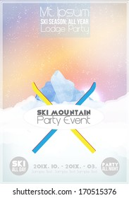 Ski Party Poster Template with Mountain in Clouds - Vector Illustration