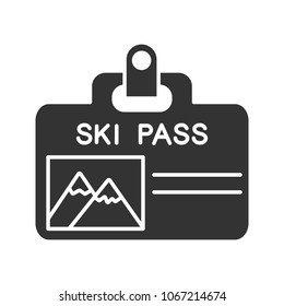 Ski pass badge glyph icon. Lift ticket. Silhouette symbol. Negative space. Vector isolated illustration