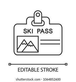 Ski pass badge linear icon. Thin line illustration. Lift ticket. Contour symbol. Vector isolated outline drawing. Editable stroke