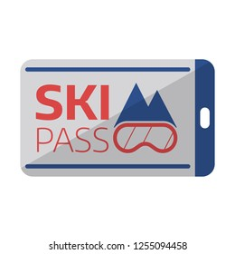 Ski pass card template, mountain resort ski-lift ticket blank. Winter sports pass or badge for passage of funicular railway or cable car.