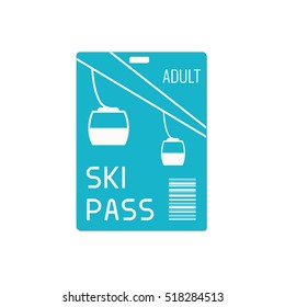 Ski pass design template with lift cable isolated on white background. Snowboarding health resort symbol. Winter sport concept. Vector illustration.