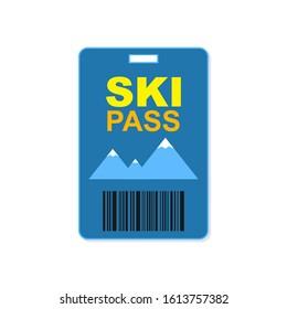 Ski pass icon simple design