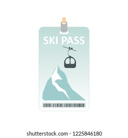 Ski pass icon. Winter sport concept, mountains and ski lift. Ski pass template with barcode. Vector illustration.
