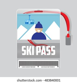 ski pass template with barcode in plastic holder with red ribbon.Man with the mountains and the funicular