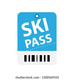 Ski pass ticket icon. Clipart image isolated on white background
