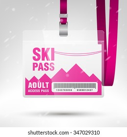 Ski pass vector illustration. Blank ski pass template with barcode in plastic holder with pink lanyard. Lift cable, mountains and snow on the background. Horizontal layout.