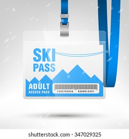 Ski pass vector illustration. Blank ski pass template with barcode in plastic holder with blue lanyard. Lift cable, mountains and snow on the background. Horizontal layout.