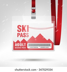Ski pass vector illustration. Blank ski pass template with barcode in plastic holder with red lanyard. Lift cable, mountains and snow on the background. Horizontal layout.