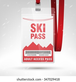 Ski pass vector illustration. Blank ski pass template with barcode in plastic holder with red lanyard. Lift cable, mountains and snow on the background. Vertical layout.
