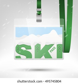 Ski pass vector illustration. Blank ski pass template in plastic holder with green lanyard. Letters with holes for boots bindings. Mountains and snow on the background. Horizontal layout.