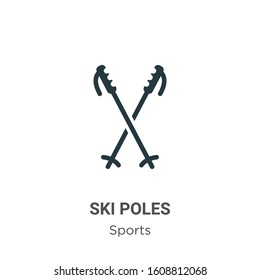Ski poles glyph icon vector on white background. Flat vector ski poles icon symbol sign from modern sports and competition collection for mobile concept and web apps design.
