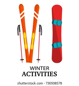Ski, poles, snowboard flat vector illustration, isolated on white background. Winter activities conceptual colorful icons, front view. Ski equipment, snow board illustration.