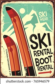 Ski rental retro sign design with pair of skis and winter mountain shape. Winter vacation concept.