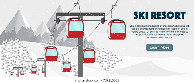 Ski resort, aerial lift flat vector illustration. Alps, fir trees, mountains wide panoramic background. Winter activities banner design.
