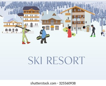 Ski resort aerial view, winter holidays in the mountains. Welcome to the ski resort. Vector