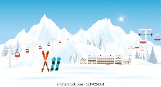 Ski resort with cable cars or aerial lift and ski-lift moving above the ground against winter landscape with mountains and house in the snowy forest , vector illustration.