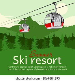 Ski resort with cableway gondola ski lift and mountains in the summer with copyspace for text