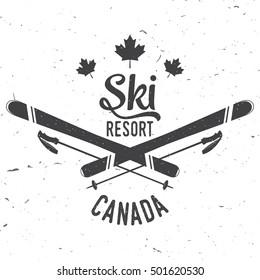 Ski resort, Canada. Concept for badge, shirt, print, seal or stamp. Ski resort typography design- stock vector.