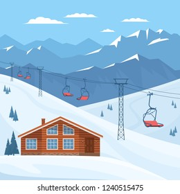 Ski resort with chair lift, house, chalet, winter mountain landscape, snow. Vector flat illustration.