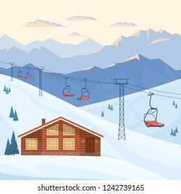 Ski resort with chair lift, house, chalet, winter mountain evening and morning landscape, snow. Vector flat illustration.