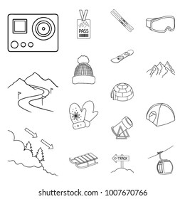 Ski resort and equipment outline icons in set collection for design. Entertainment and recreation vector symbol stock web illustration.