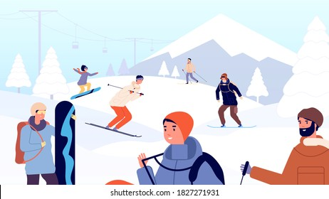 Ski resort. Fun winter people, skiers and snowboarder. Holiday in mountains, snow landscape and extreme sport man woman vector illustration