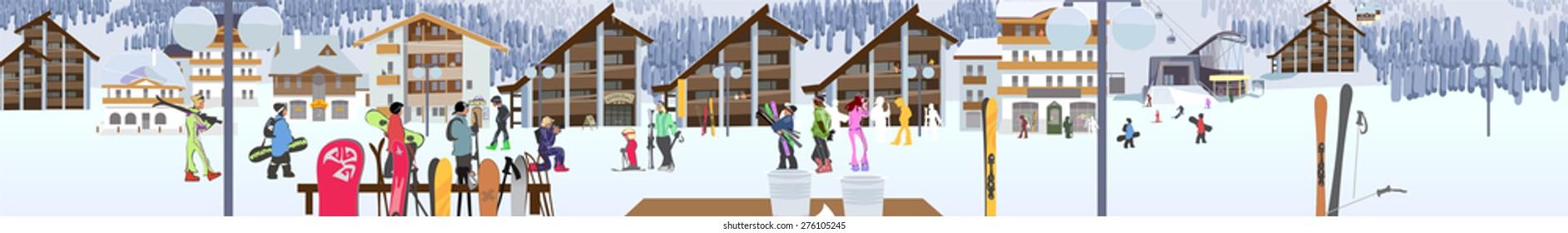 Ski resort, hotel and ski lifts. Vector