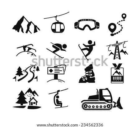 Ski Resort Icons Stock Vektorgrafik Lizenzfrei 234562336