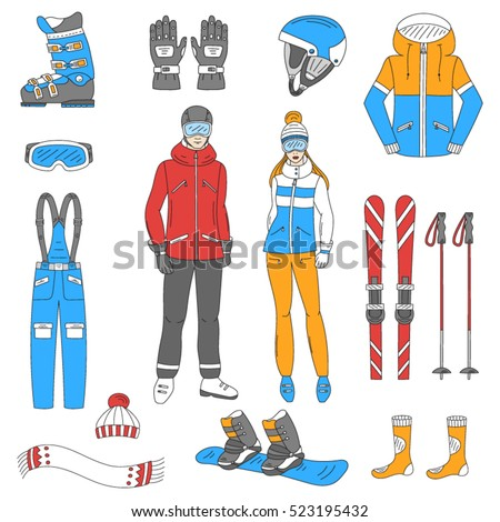 490a1c9f Ski resort icons set, snowboarder man and woman with winter sport  equipment, hand drawn