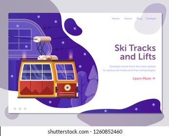 Ski resort landing page template with red cable car funicular in gradient flat design. Winter holidays in mountains web banner with ski lift gondola. Cable way concept illustration for travel agency.
