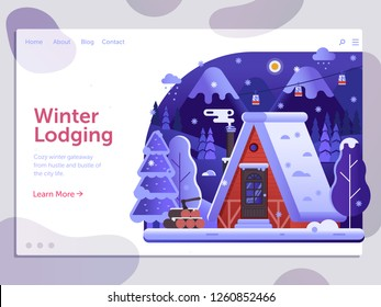 Ski resort landing page template with winter house and smoking chimney on forest. Winter lodging holidays in mountains web banner with snow ski lodge chalet or log cabin on wilderness by wintertime.