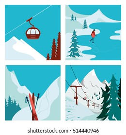 Ski Resort. Ski Lift in the mountains. Girl skating. Winter landscape. Vector illustrations.