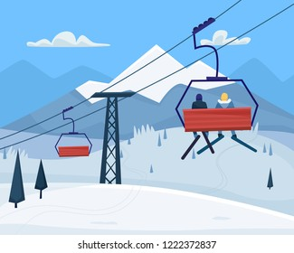 Ski resort with people, lift and  winter mountains landscape. Flat cartoon style vector illustration.