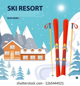 Ski resort poster illustration with wooden house and ski equipment on snowy landscape with mountains, fir trees and snow hills. Vector illustration with copy space.