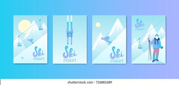 Ski Resort Poster Set. Man skiing down the mountain slope. Sports equipment and ski lift.