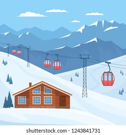 Ski resort with red ski cabin lift on cableway, house, chalet, winter mountain landscape, snowy peaks and slopes. Vector flat illustration.