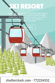 Ski resort, red cabin lift, flat vector illustration. Alps, fir trees, mountains panoramic background. Aerial ropeways, hills, winter web banner design.
