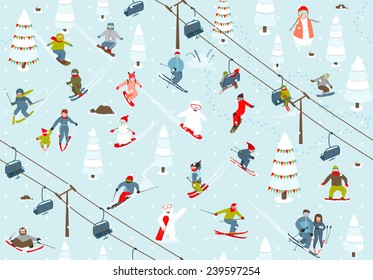 Ski Resort Seamless Pattern with Snowboarders and Skiers. Mountain skiing background winter resort with people Vector illustration.
